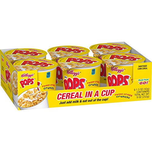 Kellogg Corn PopsBreakfast Cereal in a CupBulk Size 12 Count Pack of 2 9 oz Trays