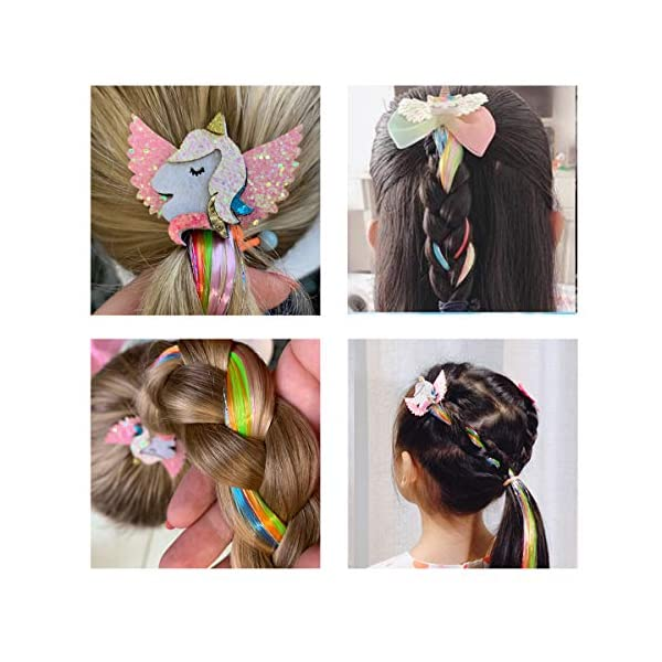 Sunormi 4 Pcs Multi-Colors Princess Kids Hair Clips In 15 Inch Straight Synthetic Hair Extensions Unicorn Butterfly Ponytails Hair Hairpieces For Girls Daily Dress Up 9