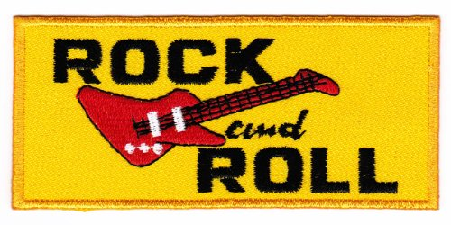Aufnäher Bügelbild Aufbügler Iron on Patches Applikation Rock and Roll Gitarre