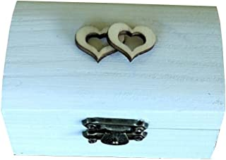 Caja anillos boda de corazónes color blanco Medidas 8,5x5x4,5 cm.