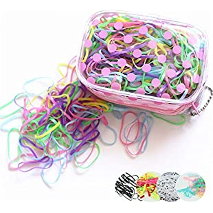 the GreatTony Pack of 1000 Elastic Hair Bands Candy Color Soft Mini Rubber Bands with Polka Dot Bag(4 styles available):Tudosobrediabetes