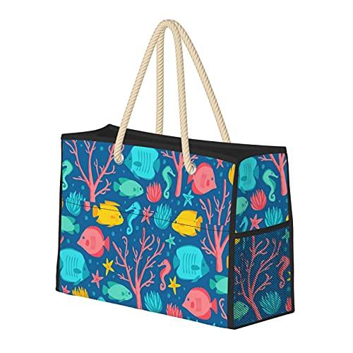 Bolsa de playa grande y bolsa de viaje para mujer – Bolsa de piscina con asas, bolsa de semana y bolsa de noche – Coral Reef Crew Jewel
