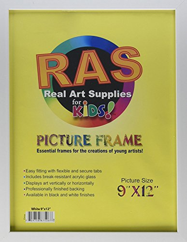 RAS Kids Art Frame - Boxed Style Wide Frame Edge Construction Paper Removable Acrylic Pane Cardboard Backing with Hooks - [White - 9x12']
