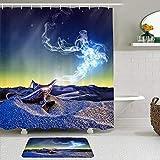 GOCHAN Juego de 2 Cortinas de Ducha con alfombras Antideslizantes lámpara de Aladino Deseo mágico misteriosa Noche del Desierto niño niña Cuento de Hadas árabe Deseo