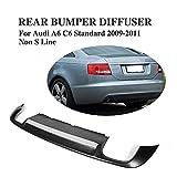 JC SPORTLINE PU Rear Bumper Lip Diffuser fits for Audi A6 C6 Non-Sline 2009-2011