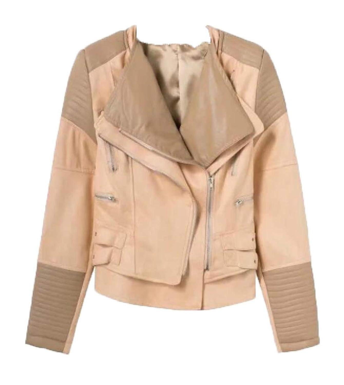 maweisong 女性プリーツロングスリーブラペル偽フォークスレザージャケット