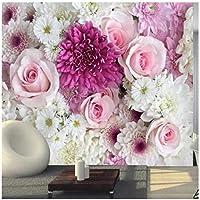 カスタム壁画 バラユリの花 3Dの壁紙 リビングルームテレビソファの家の装飾 -350x250cm/138x98inch