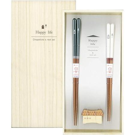 イシダ 日本製 ギフト 桐箱 箸置付 夫婦箸 ハッピーライフ 14×27.5×2.5cm