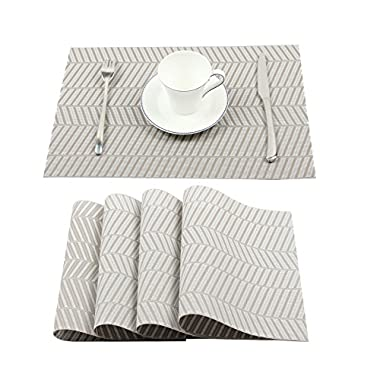 Homcomoda Placemats Crossweave Woven Vinyl Table Mats Washable Heat- resistant Non-slip Place Mats for Dining Table Set of 4(Grey)