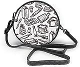 BAODANLA Bolso redondo mujer Baking Seamless Pattern Women Soft Leather Round Shoulder Bag Zipper Circle Purses Sling Bag