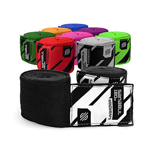 "Sanabul Elastic Professional 180 inch Handwraps for Boxing Kickboxing Muay Thai MMA (Black, 180"")"