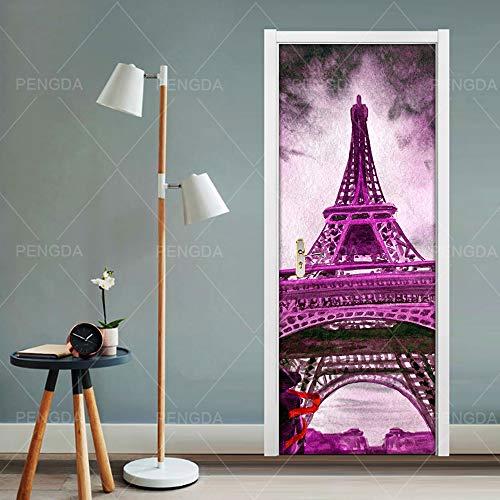 EKSDG 3D Door Stickers Purple Paris Tower 77X200Cm Self Adhesive Photo Wallpaper Murals DIY Wall Stickers Vinyl Removable Art Door Decals Living Room Bedroom Bathroom Home Decoration