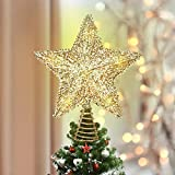 Luxspire Christmas Star Tree Topper, 9-Inch Christmas Tree Topper Lighted with LED Lights Beautiful Star Lighting Holiday Decoration for Christmas Tree Home Decoration, Gold