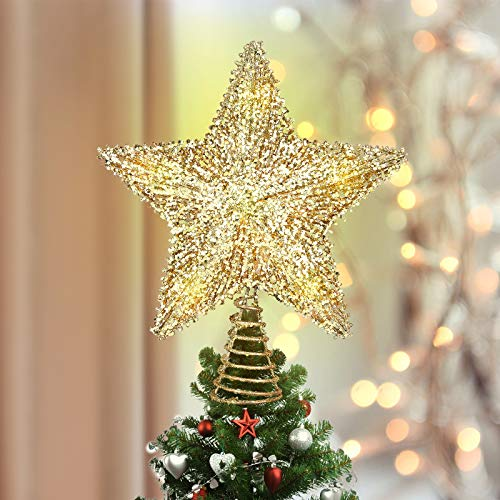 Luxspire Punte Albero di Natale, Puntale per Albero di Natale, Puntale Stella per Albero di Natale, con Luci Comode, a 3 AA Batterie, Decorazione per Natale Festa Casa Bar Festival, Oro