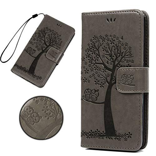 KARELIFE Lederhülle für Samsung Galaxy A21S Hülle Leder, Flip Handyhülle Wallet Hülle PU Tasche Kartensteckplätze, Magnetverschluss, Ständer Schutzhülle für Samsung A21S, Grau