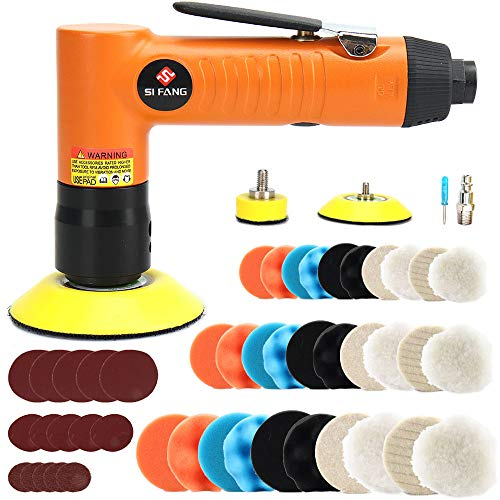 48Pcs 1'' 2'' 3'' Mini Air Sander Kit SI FANG Air Powered Random Orbital Air Sander High Speed Sanders & Polisher for Auto Body Work, Includes 1in 2in 3in Polishing Sponge & Wool Pads and Sandpapers