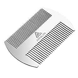 Metal hair and beard comb EDC comb in credit card format Perfect for wallet and bag - Antistatic beard comb with double effect (stainless steel comb , silvery)
