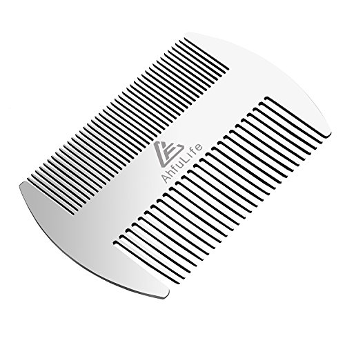 Metal Hair&Beard Comb - AhfuLife EDC Credit Card Size Comb Perfect for Wallet and Pocket - Anti-Static Dual Action Beard Comb - Presented in Gift Box (Stainless Steel Comb)