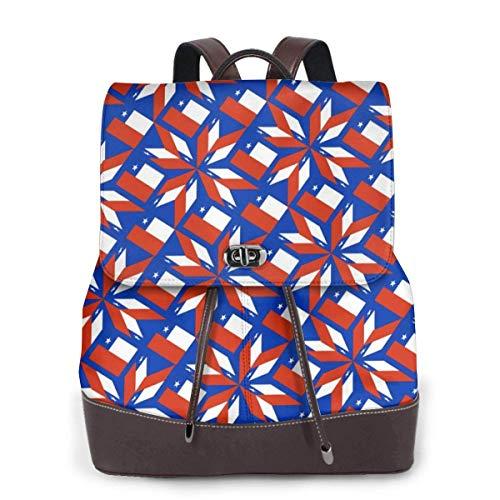 mochila de cuero para mujer Chile Flag Artascope Flower Women Backpack Purse Waterproof Leather Anti-theft Schoolbag Lightweight Rucksack Travel bags