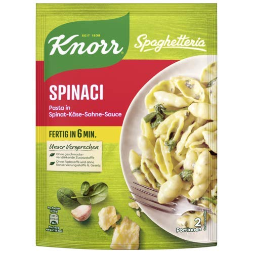 Knorr Spaghetteria Spinaci Fertiggericht Pasta (in Spinat-Käse-Sahne-Sauce) 10 x 160 g