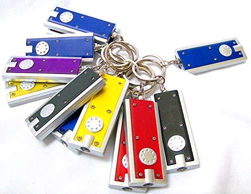 Erosion Lot de 12 mini porte-clés lampe de poche avec anneau de clés, minces mobiles, petite chaîne de lampe légère Aide d'urgence 45 lumens micro lumière (couleurs peuvent varier)