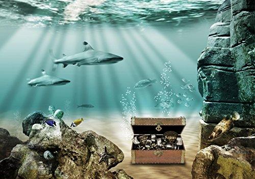 wandmotiv24 Fototapete Unterwasser-Schatz, L 300 x 210 cm - 6 Teile, Fototapeten, Wandbild, Motivtapeten, Vlies-Tapeten, M0020
