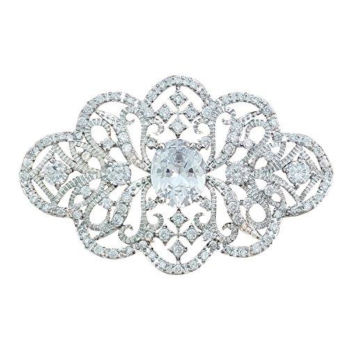 QUKE Silber-Ton Klar österreichische Swarovski Element-Kristall Weiß Brosche und Anstecknadel