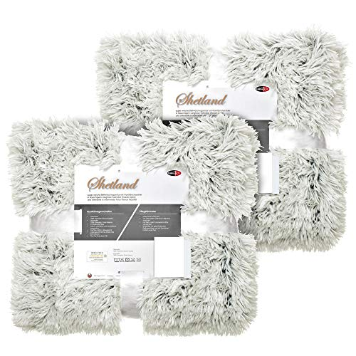 CelinaTex Shetland Bettwäsche 135 x 200 cm 4-teilig Creme grau Polar-Fleece Bettbezug Flokati Optik Bett Garnitur