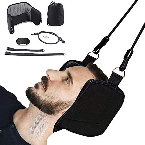 MRSDBTL Head Hammock for Neck Pain Relief and Physical Therapy, Portable Cervical Traction Device with Free Sleeping Mask