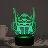 Optimus Prime Robot Table Lamp LED 7 Color Remote Change Transformers Autobots Cartoon Party Supply Bedroom Decor Mood Night Light Holiday Xmas Boy Fans Friend Xmas New Year Gift for Teens Kid Toy