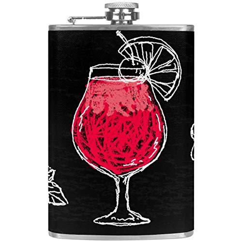 Petaca a prueba de fugas de licor, botella de 7.6 onzas, taza de flagón, funda de piel con colorido contenedor de bolsillo de huevos de dinosaurio para bebidas discretas de whisky alcohol licor Color5.