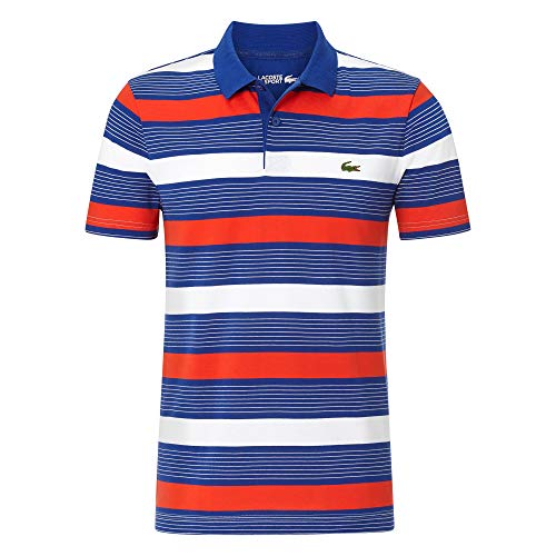 Lacoste Herren YH4880 Polo Shirt Kurzarm, Männer Polo-Hemd,2 Knopf, Regular Fit,Cosmic/White-Corrida-CALLUNA(SG6),Medium (4)