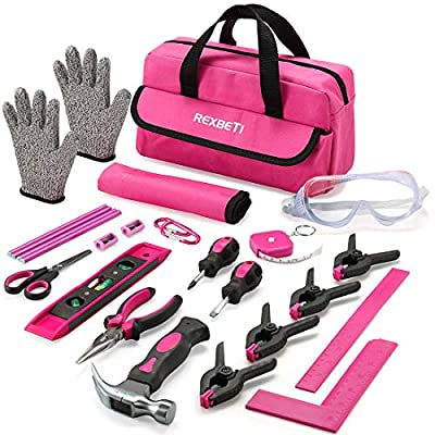 REXBETI 25-Piece Kids Tool Set with Real Hand Tools, Pink Durable Storage Bag, Children Learning Tool Kit for Home DIY and Woodworking
