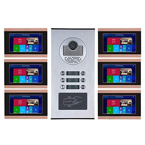 QXue 7 Pulgadas RFID Videoportero Intercomunicador Kit Sistema con HD Cámara Visión Nocturna Soporte Desbloqueo de Tarjeta de ID (6-Monitors 1-Cámara)