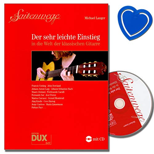 Saitenwege - Der sehr leichte Einstieg in die Welt der klassischen Gitarre mit CD - Autor Michael Langer - mit bunter herzförmiger Notenklammer