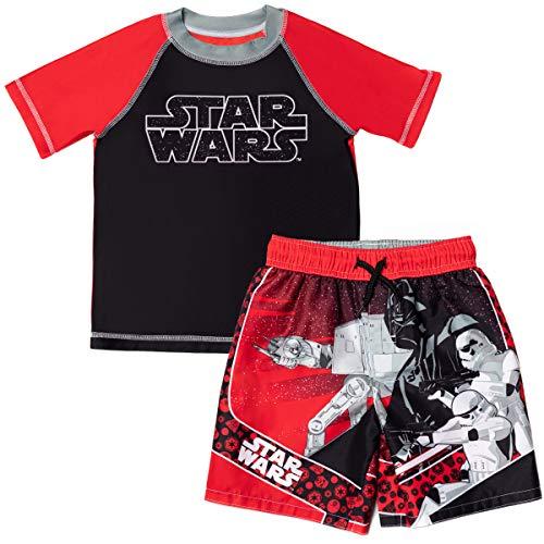 STAR WARS Darth Vader Stormtrooper Little Boys Rash Guard Swim Trunks Set Red/Black 5-6