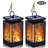Solar Lantern Lights Outdoor Hanging Patio Decor with Flickering Dancing Flame, Waterproof Solar Powered LED Lantern Decorative Lights for Patio Yard Garden Table Decoration, 2 Pack