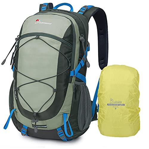 MOUNTAINTOP 40 Litri Zaino Trekking Outdoor Multifunzione Zaino per Uomo Donna da Escursionismo Campeggio Viaggio Zaini con Copertura della Pioggia, Grigio