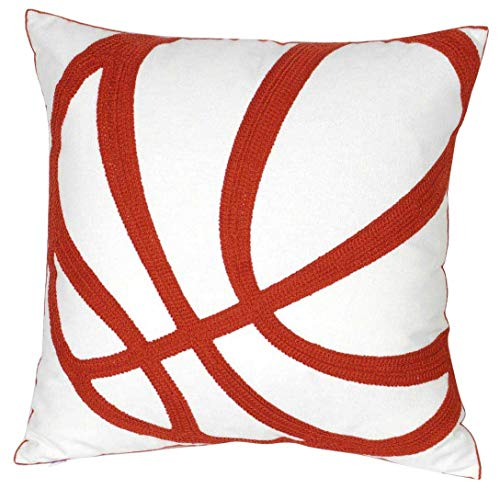 Save %30 Now! DECOPOW Embroidered Basketball Throw Pillow Covers,Square 18 inch Decorative Canvas Pi...