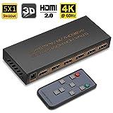 HDMI 2.0 Switch 5x1 Teyo Premium Qualität 60Hz @4K/2K HDMI Umschalter HDR mit IR-Fernbedienung, unterstützt HDR, HDMI 2.0, HDCP 2.2, Full HD/3D, 1080P, DTS/Dolby