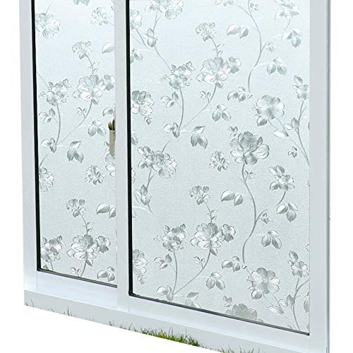 KUNHAN raamsticker raamfolie statisch verduisterend raam bloemenstickers cellofaan badkamer badkamer raamstickers transparant ondoorzichtig glas film anti-transparant