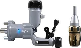 Dragonhawk Raven Rotary Tattoo Machine, Soft and Hard Hit Adjust with Steel Mast Cartridges Tattoo Grip Q555Y
