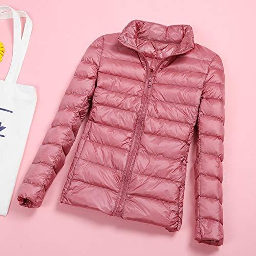 YRFHQB Winterjacke Damenmantel Warme, ultraleichte Herbst-Daunenjacke Schlanke Damen-Herbstjacke Winddichte Daunen-Kurzmäntel L Pink
