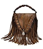 ZLYC Women's Leather Bamboo Hand Strap Featured Fringe Bohemian Tassel Studed Cross Body Bag (Brown)
