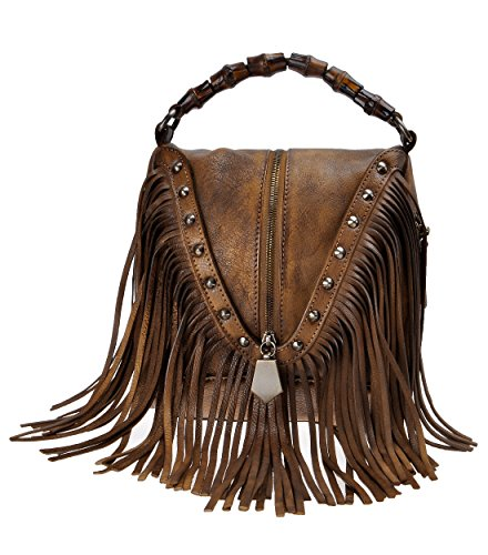 ZLYC Damen Vintage Umhängetasche mit Fransen Troddelbeutel Handtasche