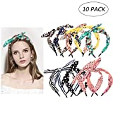 Curasa 10 Pack Bow Tie Floral Headband Colorful Hair Band Cute Hair Accessories for Girls Perfect Rabbit Ears Headbands for Womon Girls