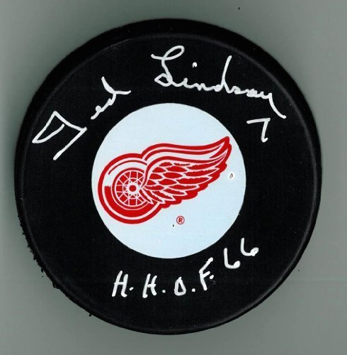 Ted Lindsay Autographed Detroit Red Wings Puck w/ 'HOF'