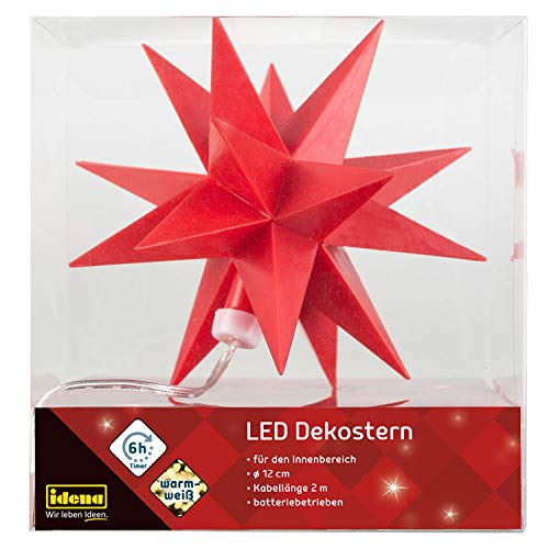 Idena 30473 - LED Dekostern in roter Farbe mit warm weißem Licht, 6 Stunden Timer Funktion, batteriebetrieben, Innenbereich, ca. 2 m Kabellänge, für Partys, Weihnachten, Deko, als Stimmungslicht
