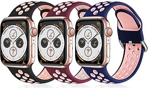 BarRan Pack 3 Correia de Substituição Compatível com Apple Watch 44mm 42mm 38mm 40mm, Suave Silicone Pulseira Sport Band compatível com Apple Watch SE/iWatch Series 6 5 4 3 2 1