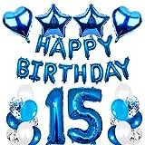 SNOWZAN 15 cumpleaños decoración juvenil de color azul par